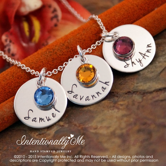 Hand Stamped Sterling Silver Necklace - Personalized Mommy Jewelry - Three Name Tags with Birthstones (flat trio)