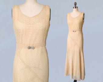 1930s Wedding Dress / 30s Simple Minimal Geometric Lace Gown / Bias Cut / Elegant Nude Lace