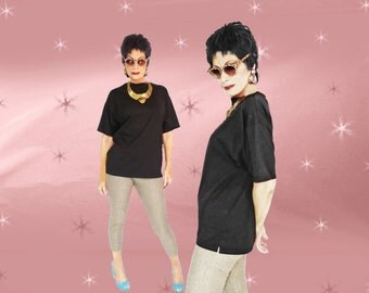 Vintage Black T shirt - 90s Over-Sized Tee - Classic (with a Twist or Two)
