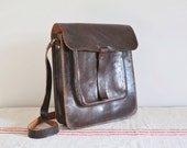 Vintage handmade dark brown leather satchel messenger laptop bag