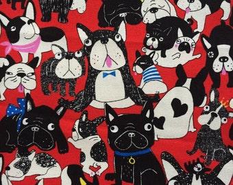 Japanese cotton fabric dog french bulldog  printed Half yard red colour