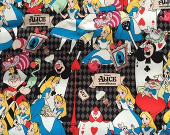 Limited sale Half yard Alice in wonderland fabric gray and black color Japanese fabric