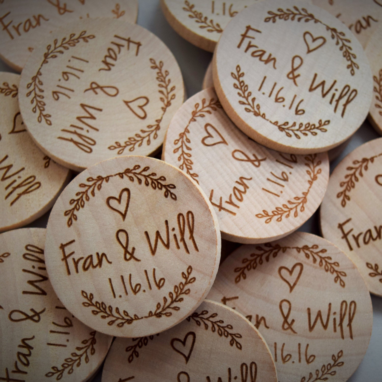 Rustic Wedding Favor Wood Save The Date Magnet Nature Theme