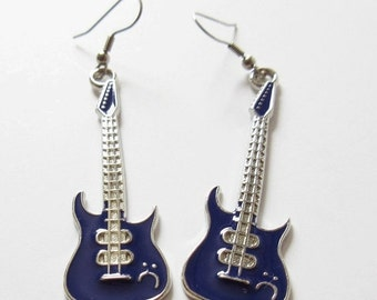 on sale Guitar Earrings Purple Enamel Guitar Charm Earrings