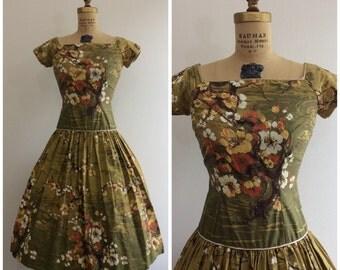 Vintage 1950's Cherry Blossom Novelty Print Dress 50's Border Print