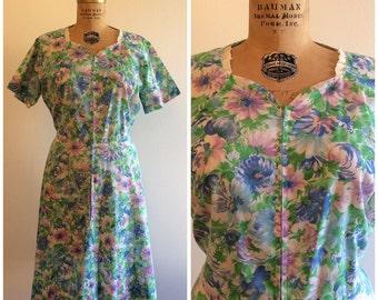 1960s Zip Front House Dress 60s Blue Purple Floral