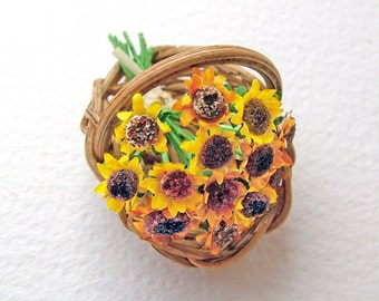 Miniature sunflowers in a flower basket, 24th, half inch scale for the collector's dolls' house