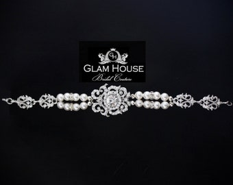 Bridal Bracelet, pearl bracelet,vintage wedding jewelry,bridal accessories,statement bracelet,wedding jewelry, great gatsby jewelry