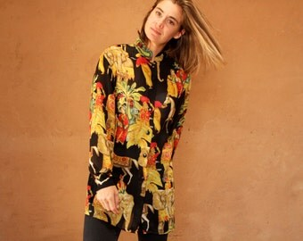 versace style 90s abstract long sleeve slouchy WILD baroque oversize blouse shirt