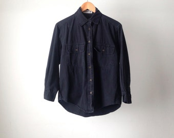black 90s DENIM oxford shirt with faded button up down finish