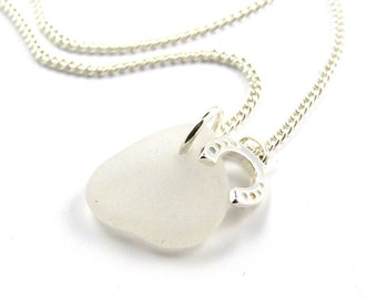 White Sea Glass and Sterling Silver Horseshoe Necklace, Modern, Bridal, Everyday , Wedding