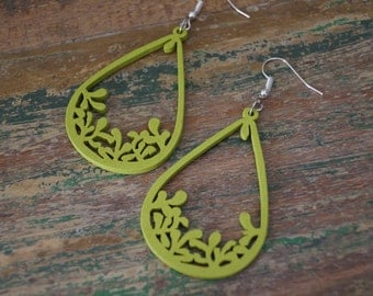 Laser Cut Earrings, Lime Green Wood Earrings, Teardrop Earrings, Dangly Earrings, Lightweight Earrings, Wood Dangly Earrings, Green Earrings