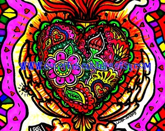 "Corazon Sagrado/ Sacred Heart""-Art Print by LAURA GOMEZ- 8""x10"" Or 11x14""-Day of the Dead- Dia de los Muertos-Mexican Folk Art"