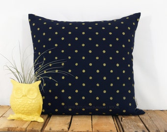 Gold and Navy Decorative Pillow | Polka Dots Pattern | Graphic Hand Printed Geometric Pillow Cover | 18x18 Throw Pillow, Pillow Case