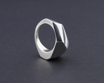 Geo Ring: Sterling Silver Faceted Ring