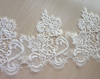 Cream White Lace Trim Floral Eyelash Scalloped Embroidered Lace Trim 8.26 Inches Wide 1 yard