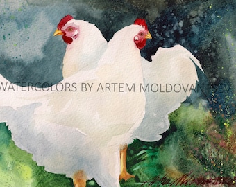 White Chicken Farm Digital Art Print of Watercolor Painting of Yard Birds Instant Download Wall Decor Artwork Image Picture