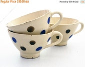 Tea Set of 3 Pretty french Antique Cafe au Lait Cup,Tea Cup,Confetti from DIGOIN with Blue and White geometrical pattern, Polka Dots