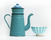 Pretty Completed French Vintage Turquoise Enamel coffee pot, bright tea pot, enamelware Home Decor,French Country, Rustic French Decor