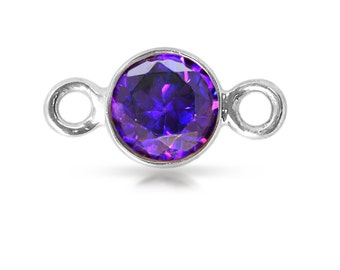 Sterling Silver 4mm Amethyst CZ Bezel with 2 closed rings - 2pcs  High Quality 15% discounted (3903)/1