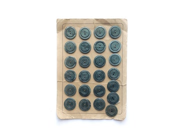 5 Blue Buttons, Marbled, Antique, French, Button Card
