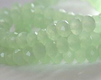 20 pcs 6x4mm Frost Pale Green Seafoam Green Rondelle Glass Beads