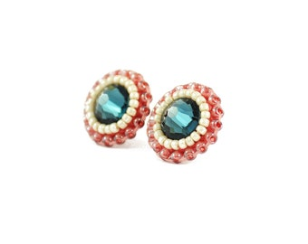 Blue stud earrings | blush stud earrings | blush blue wedding earrings | bridal bridesmaid earrings | crystal stud earrings | unique gift