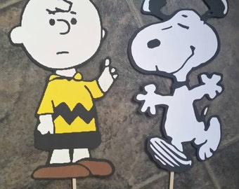 "Charlie Brown and Snoopy Centerpieces double sided diecut cardstock set of 2 with stick 11"" characters"