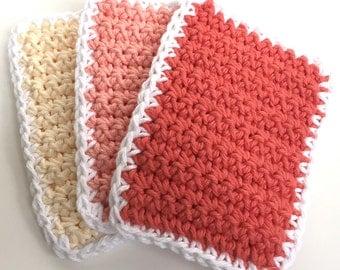 Crochet Dishcloths Washcloths - Set of 3 - Kitchen, Bathroom, Baby - Ombre Peach, Yellow - 100% Cotton