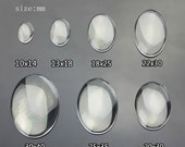 10pcs  Clear Tranparent Glass Oval  Cabochon  Multi Sizes