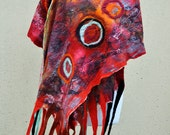 Beautiful shawl, felted scarf, silk, wool, felted, gift, fiber art, black, orange, red