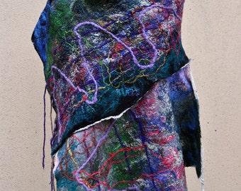 Beautiful shawl, felted scarf, silk, wool, felted, gift, fiber art, black, purple, blue, green