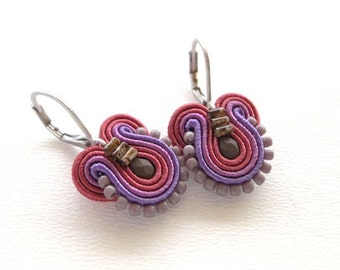Purple Earrings Purple and Maroon Earrings Purple Drop Earrings Small Drop Earrings Small Dangle Earrings Soutache Earrings Purple Dangle