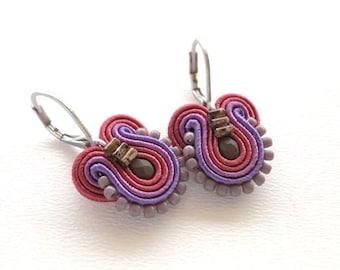 Purple Earrings Purple and Maroon Earrings Purple Drop Earrings Small Drop Earrings Small Dangle Earrings Soutache Earrings Purple Dangle