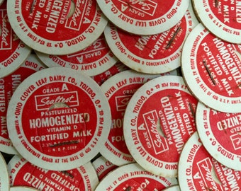 Vintage Milk or Cream Bottle Caps - Grade A Sealtest Homogenized Milk Toledo Ohio Clover Leaf Dairy - MANY QUANTITIES