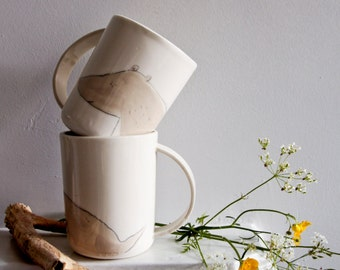 BEAR animal cup for teenagers, whimsical forest animal ceramics and pottery, white porcelain drinking cup, cup for him, for kids