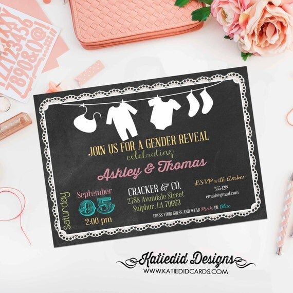 gender reveal party invitation laundry clothes line chalkboard lace pre-baby gender neutral diapers wipes couples shower (item 124) shabby