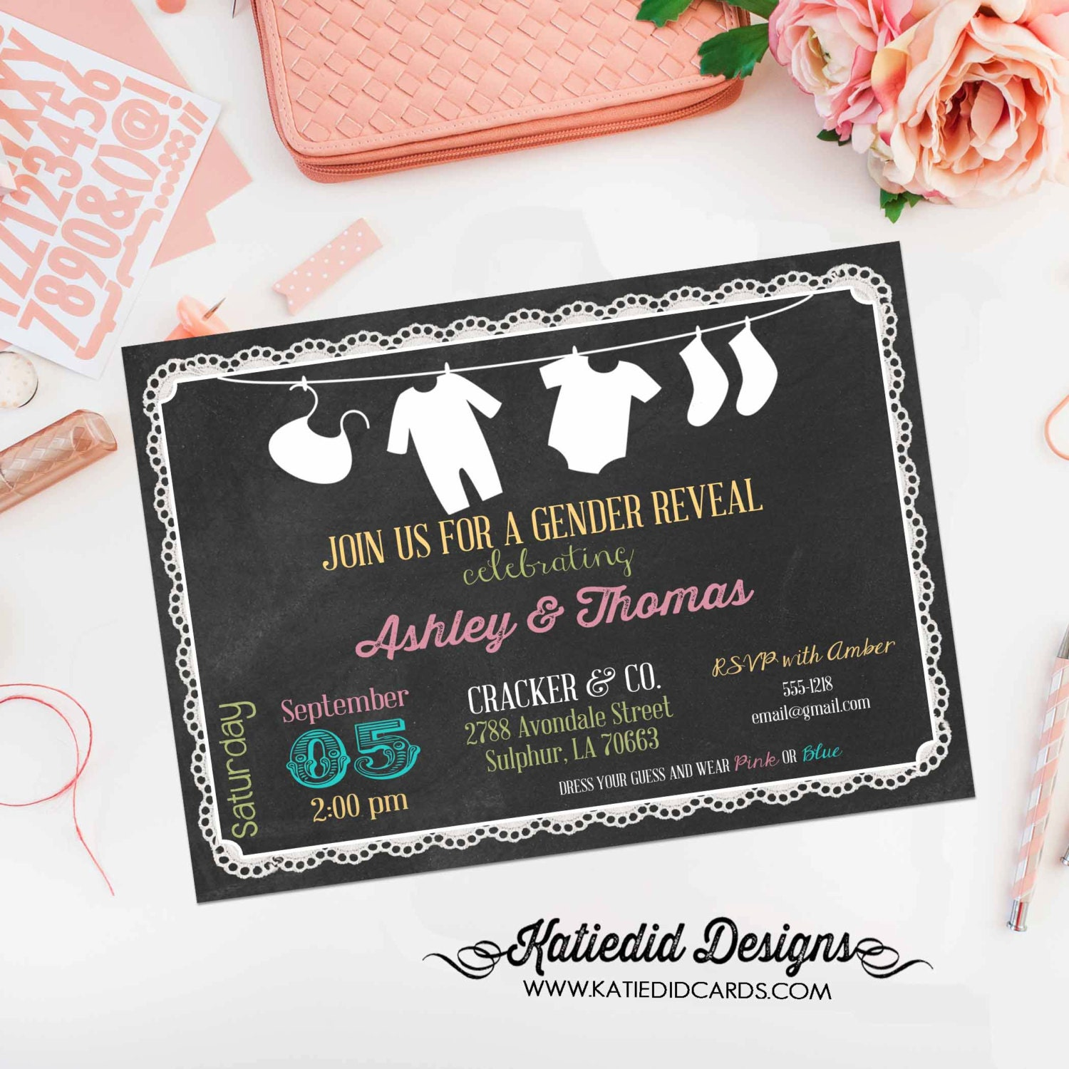 gender reveal party invitation laundry clothes line chalkboard