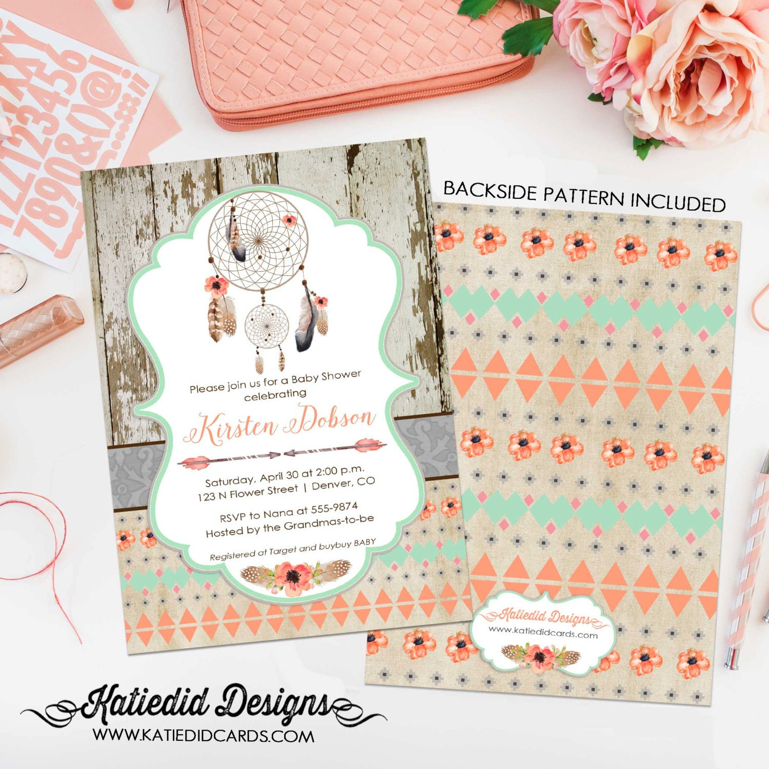 Rustic Baby Girl Shower Invitation Boho Tribal Dreamcatcher Floral Chic Invite Mint Coral Co Ed 1347 Katiedid Designs