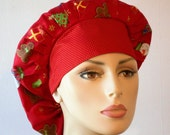 Holiday Bouffant Scrub Hat  Christmas Trees and Holiday Symbols with a Red Headband with Golden Dots Made in the USA