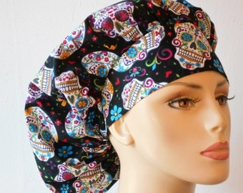 Scrub Hats Bouffant Surgical Scrub Hat -Folkloric Skulls and Flowers All Over Scrub Hat Medical Scrub Hat