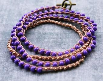 Gold and Purple Wrap Bracelet, Gold Wrap Bracelet, Beaded Wrap Bracelet, Boho Wrap Bracelet, Gold Stacking Bracelets, Purple Wedding Jewelry