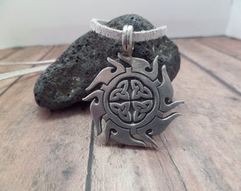 Mens Celtic Knot Necklace, Scottish Irish Jewelry with White Suede Cord, Gift for Man, Silver Charm