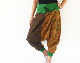 The colors of brown and green  tone ohm print draw string  harem pants , size S-XL,unisex pants.
