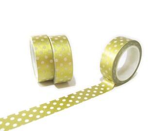 Gold Foil Polka Dots Washi Tape, Planner Washi Tape, Gold Foil Washi Tape 15mm x 10mt, Decorative Tape, Gold Foil Polka Dots Planner Tape