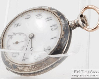 Swiss vintage ladies pocket watch, 25mm (3-OS) movement, 15 Jewels, silver hinge-back engraved case, fancy dial