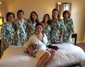 Bridesmaid Robes. Kimono Robe. Kimono. Bridal Robe. Dressing Gown. Teal Happiness Collection. Knee Length. Small thru Plus Size 2XL.