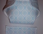Baby Doll Diaper/wipe - blue and white   - adjustable for many dolls such as bitty baby
