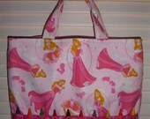 SALE Children's Crayon Tote Bag - lady princess in pink - Library Bag