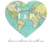 World Map Print, Personalized Gift for Boyfriend, Girlfriend Gift, Long Distance Relationship Anniversary Gift Custom Initials Heart Map Art